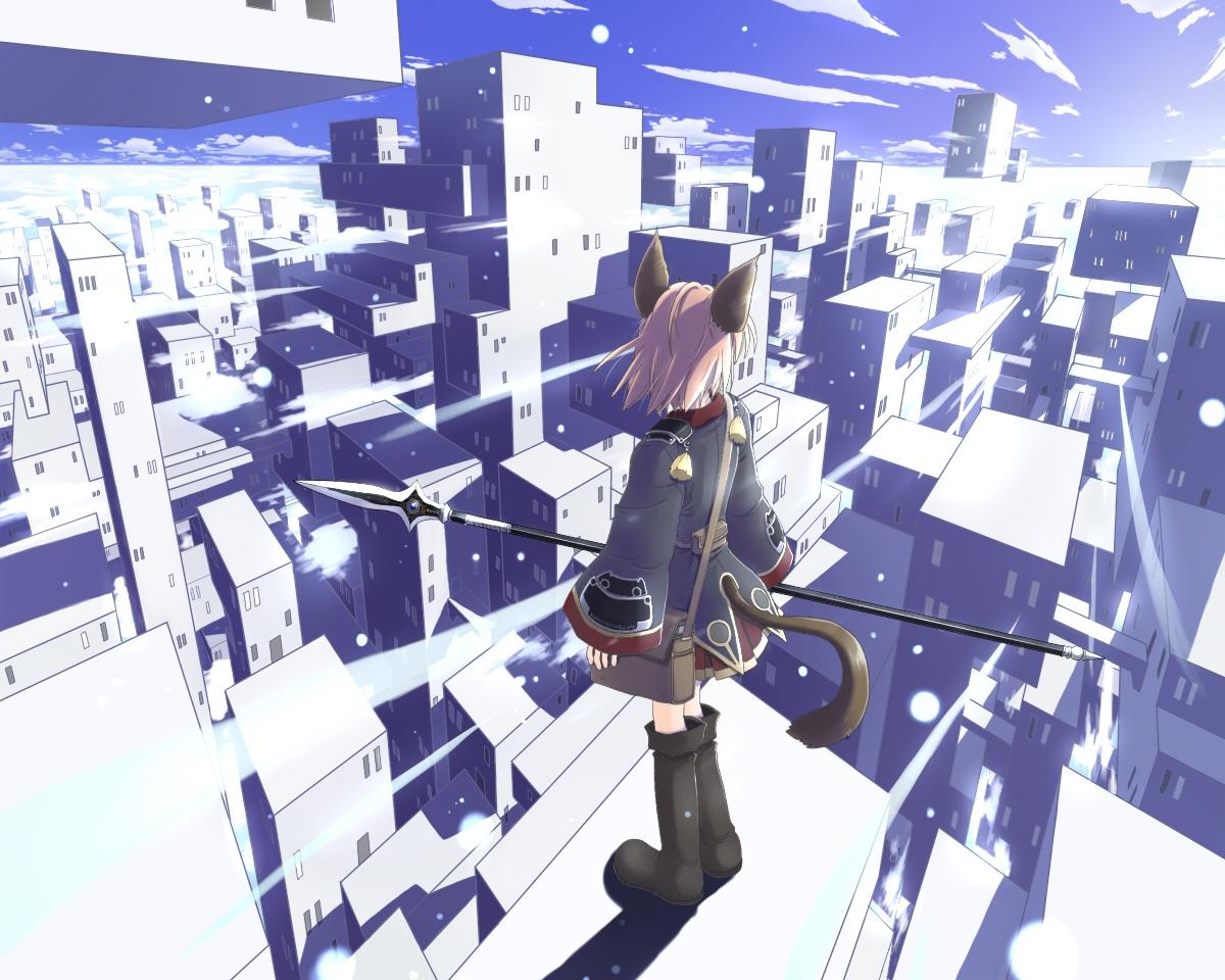 animal_ears blonde_hair blue boots building catgirl city clouds dress landscape mochizuki_saku original scenic sky spear tail weapon white