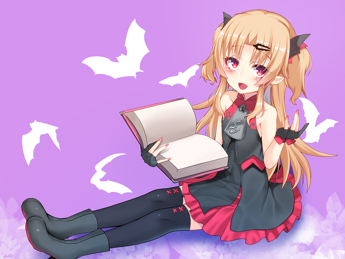 akatsuki_yuni animal bat blonde_hair book boots dress fang gloves long_hair okuri_banto pointed_ears purple red_eyes thighhighs twintails uni_channel vampire