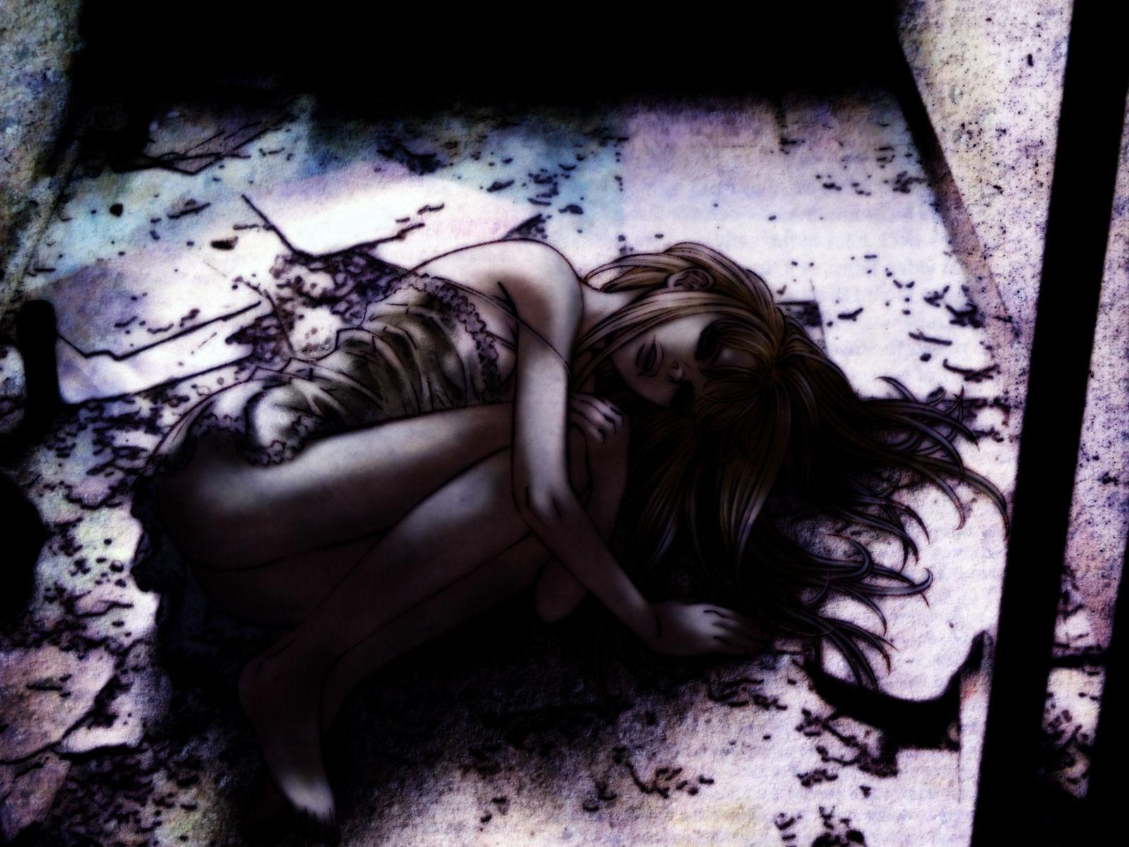 barefoot blonde_hair dark dress gilgamesh_(anime) gothic long_hair madoka_kiyoko tagme_(artist)