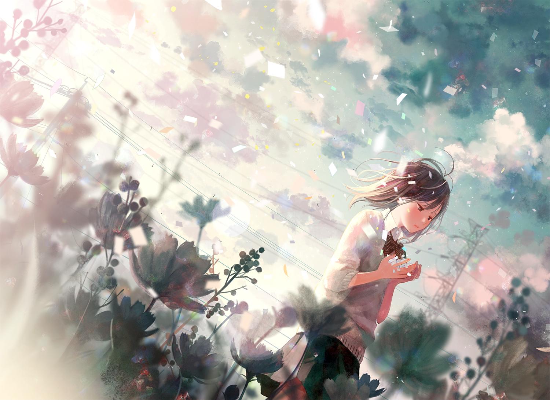black_hair bow brown_eyes clouds flowers hinata_(lipcream) original paper seifuku short_hair skirt sky