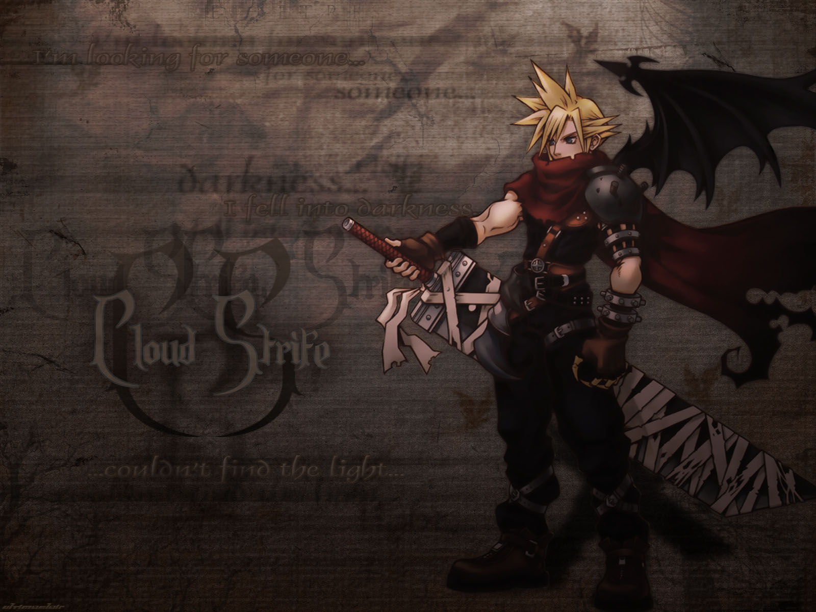cloud_strife final_fantasy final_fantasy_vii kingdom_hearts scarf sword weapon