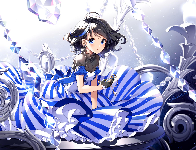 black_hair blue_eyes dress gloves gradient lolita_fashion nardack original short_hair signed tears