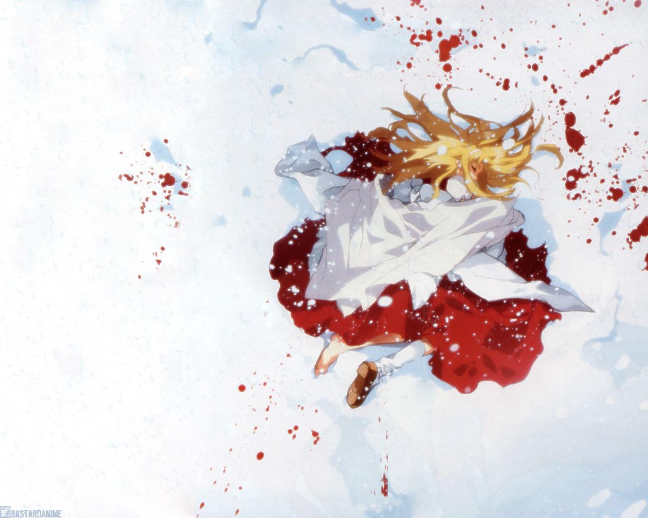 blood dnangel freedert japanese_clothes miko snow sugisaki_yukiru
