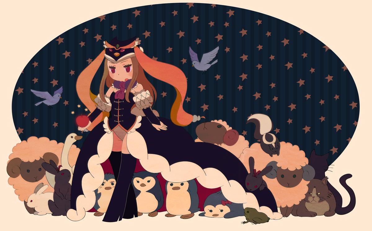animal apple cat elbow_gloves food frog fruit gloves hat long_hair mawaru_penguindrum pi_oni takakura_himari thighhighs