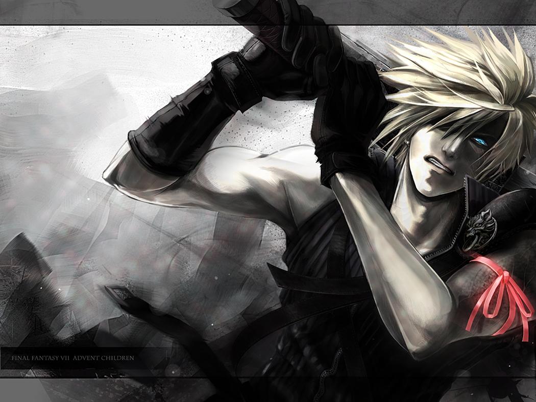 blonde_hair blue_eyes cloud_strife final_fantasy final_fantasy_vii final_fantasy_vii_advent_children gloves ribbons short_hair sword weapon