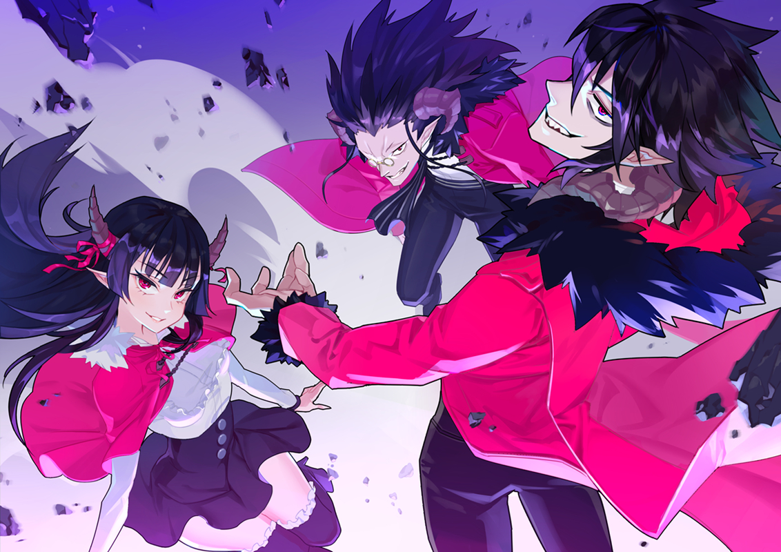black_hair boots cape demon glasses hoodie horns long_hair male mask_alice pochi_kuro pointed_ears red_eyes ribbons short_hair skirt tagme_(character) thighhighs