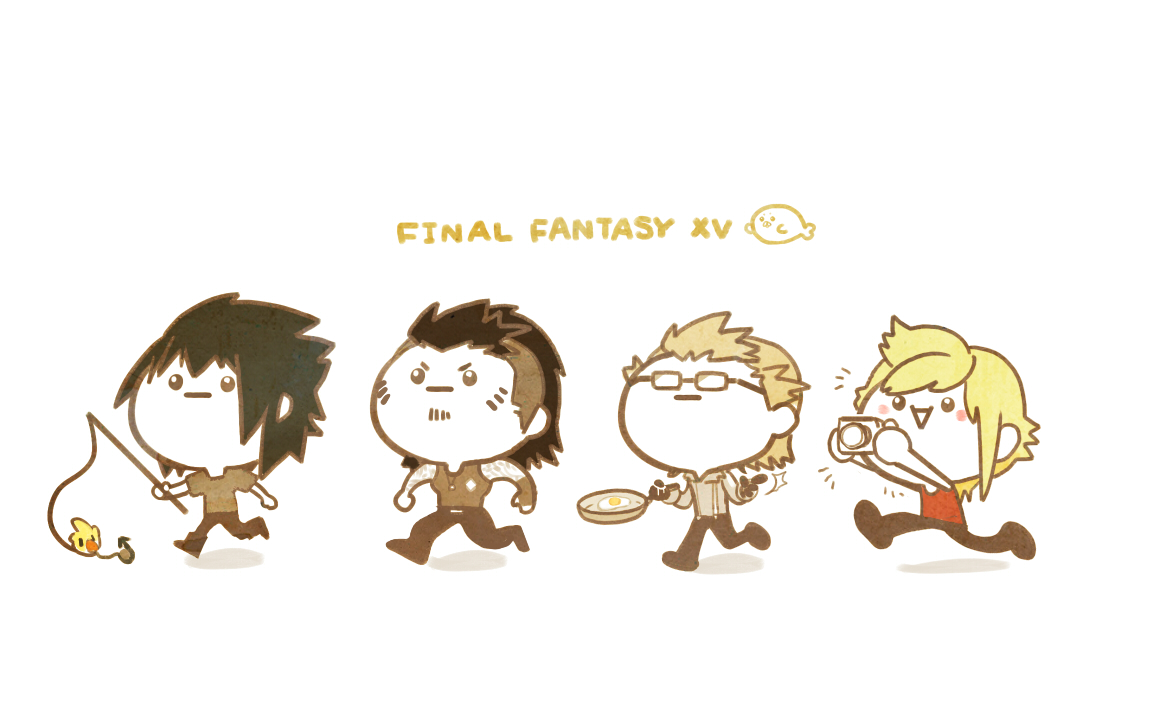 aa2233a all_male black_hair blonde_hair brown_hair camera chibi chocobo final_fantasy final_fantasy_xv food gladiolus_amicitia glasses gloves group ignis_scientia male noctis_lucis_caelum prompto_argentum short_hair tattoo white