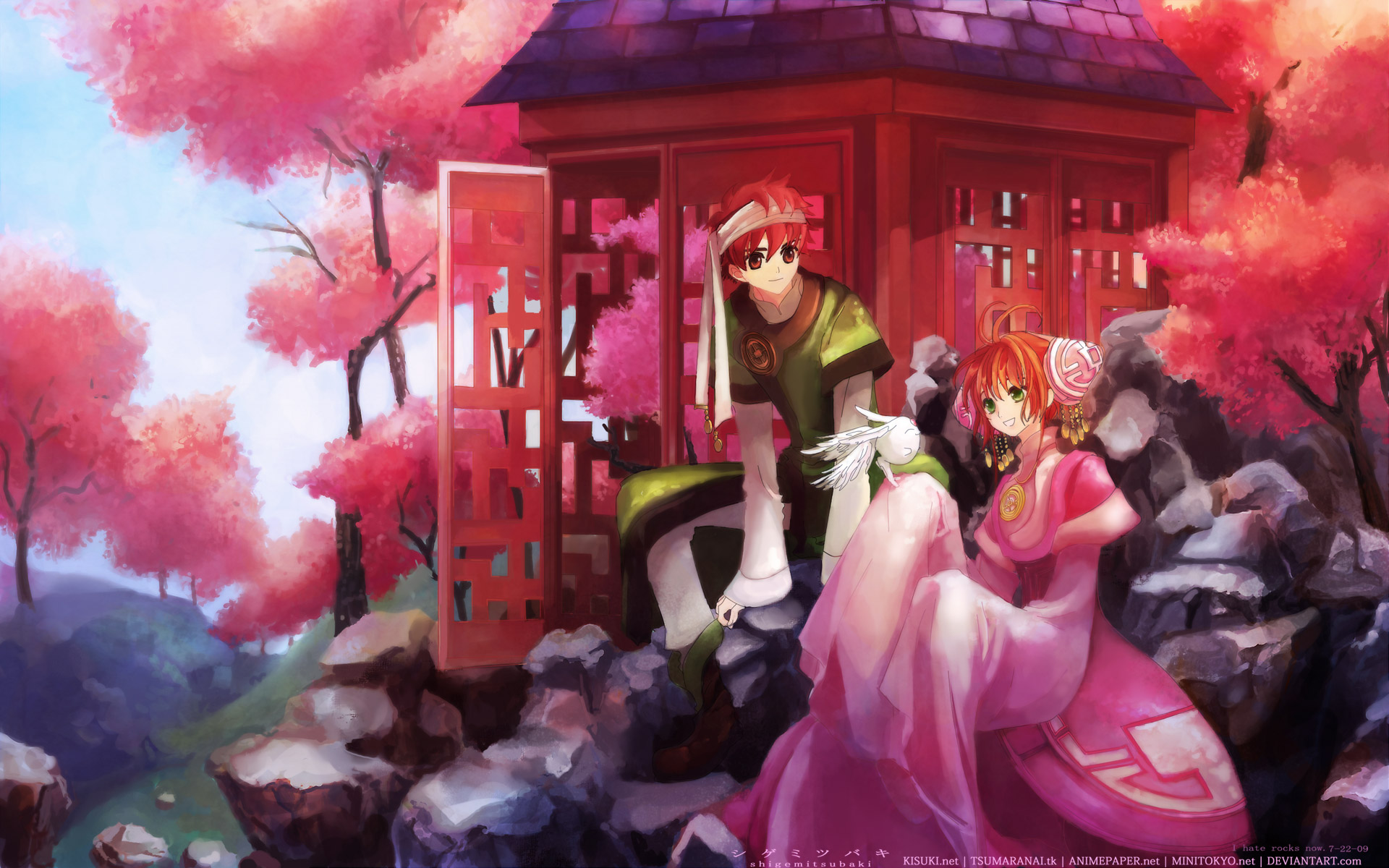 boots cherry_blossoms chinese_clothes dress green_eyes headband headdress jpeg_artifacts male mokona orange_hair red_eyes red_hair sakura_(tsubasa) short_hair syaoran tree tsubasa_reservoir_chronicle watermark