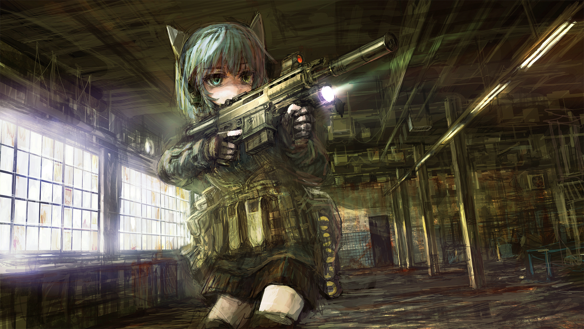 animal_ears aqua_hair bicolored_eyes gloves gun headphones lm7_(op-center) original shorts weapon