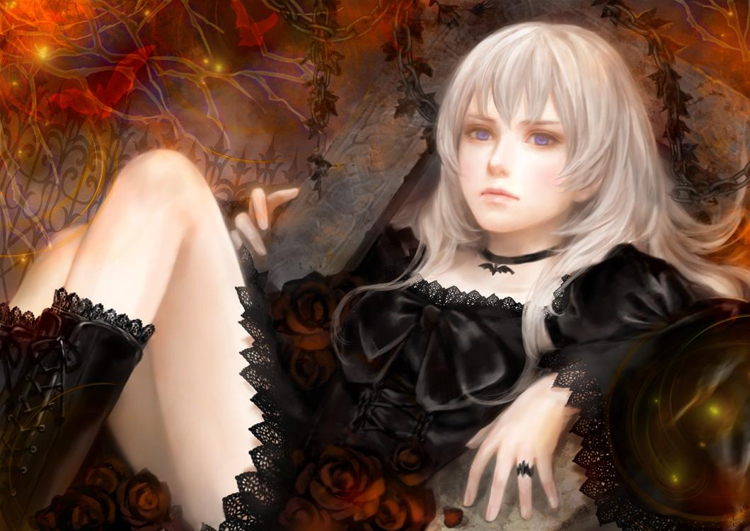 animal anthropomorphism axis_powers_hetalia bat boots chain choker dress flowers goth-loli iceland_(hetalia) lolita_fashion lotus realistic