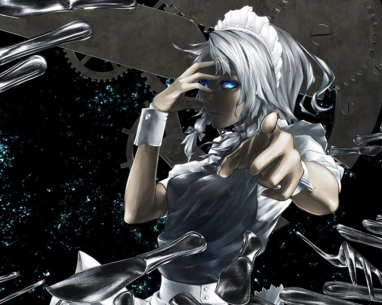 blue_eyes gray_hair izayoi_sakuya knife maid touhou weapon