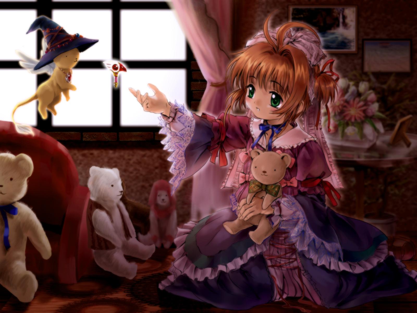 brown_hair card_captor_sakura dress green_eyes hat headdress kero kinomoto_sakura moonknives teddy_bear