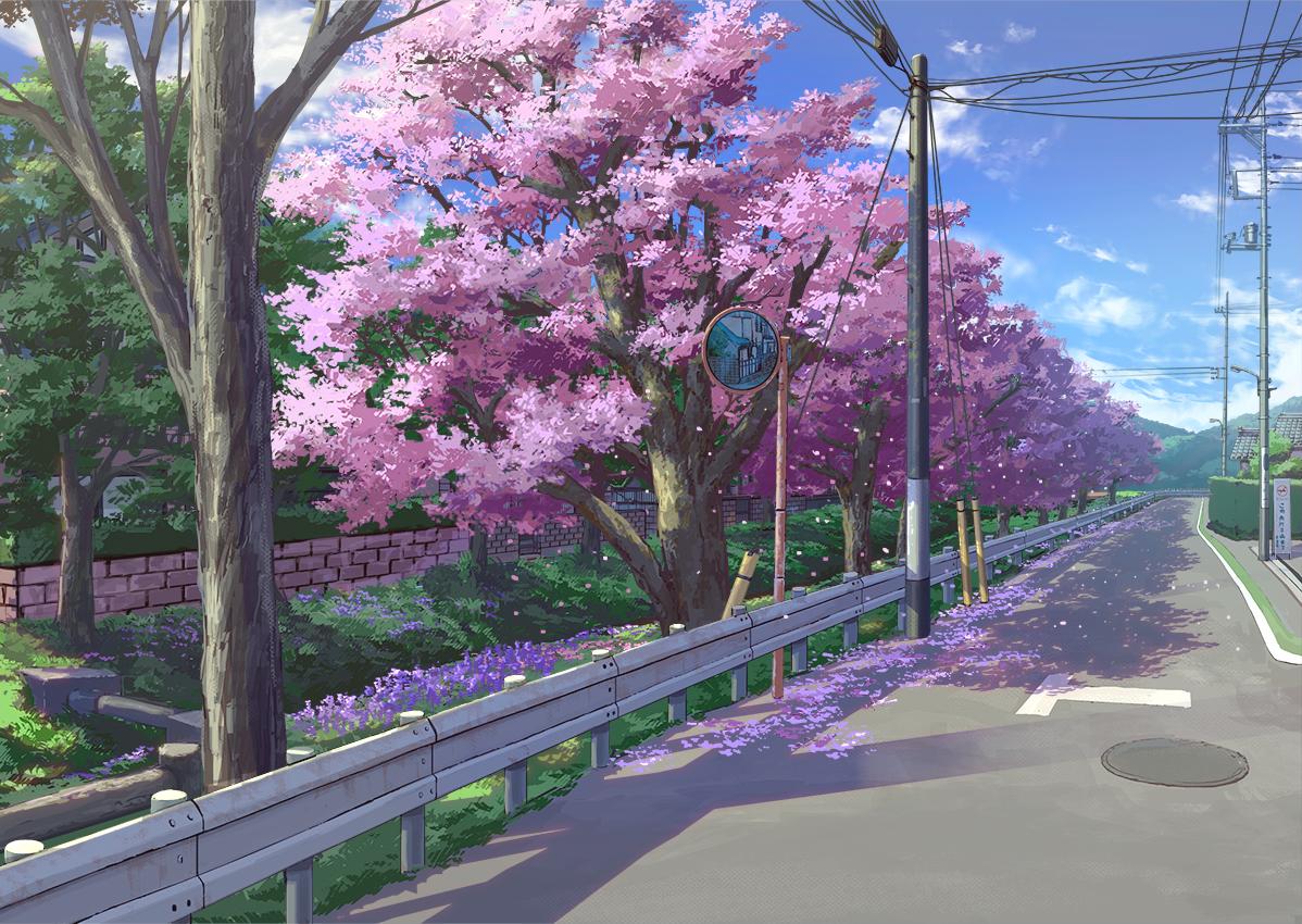 aruken cherry_blossoms clouds flowers mirror nobody original petals reflection scenic sky tree