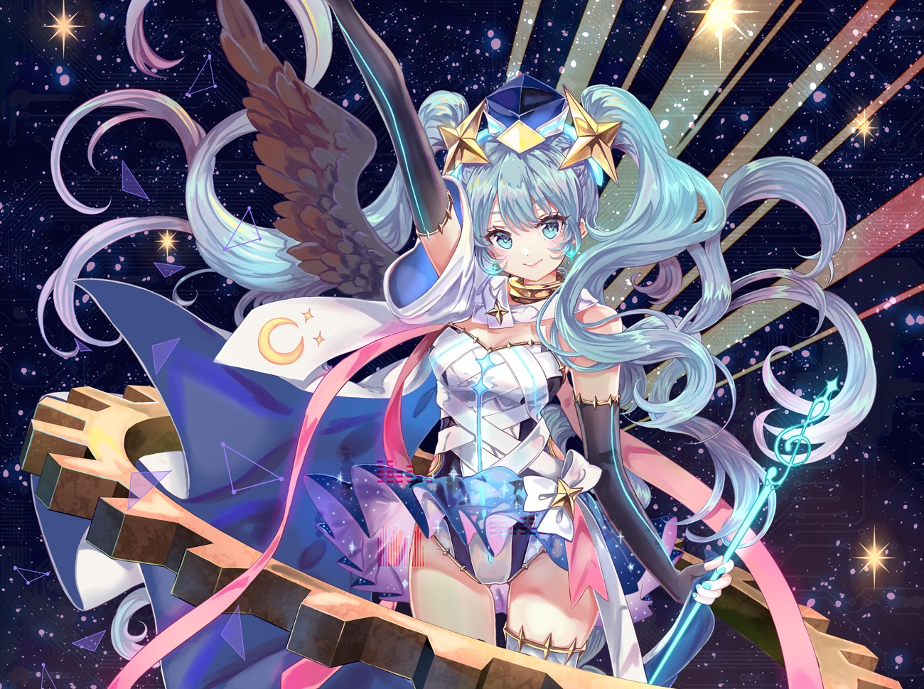 blue_hair bodysuit breasts choker cleavage cropped elbow_gloves gloves green_eyes hat hatsune_miku long_hair magical_mirai_(vocaloid) pisuke ribbons staff stars thighhighs twintails vocaloid wings