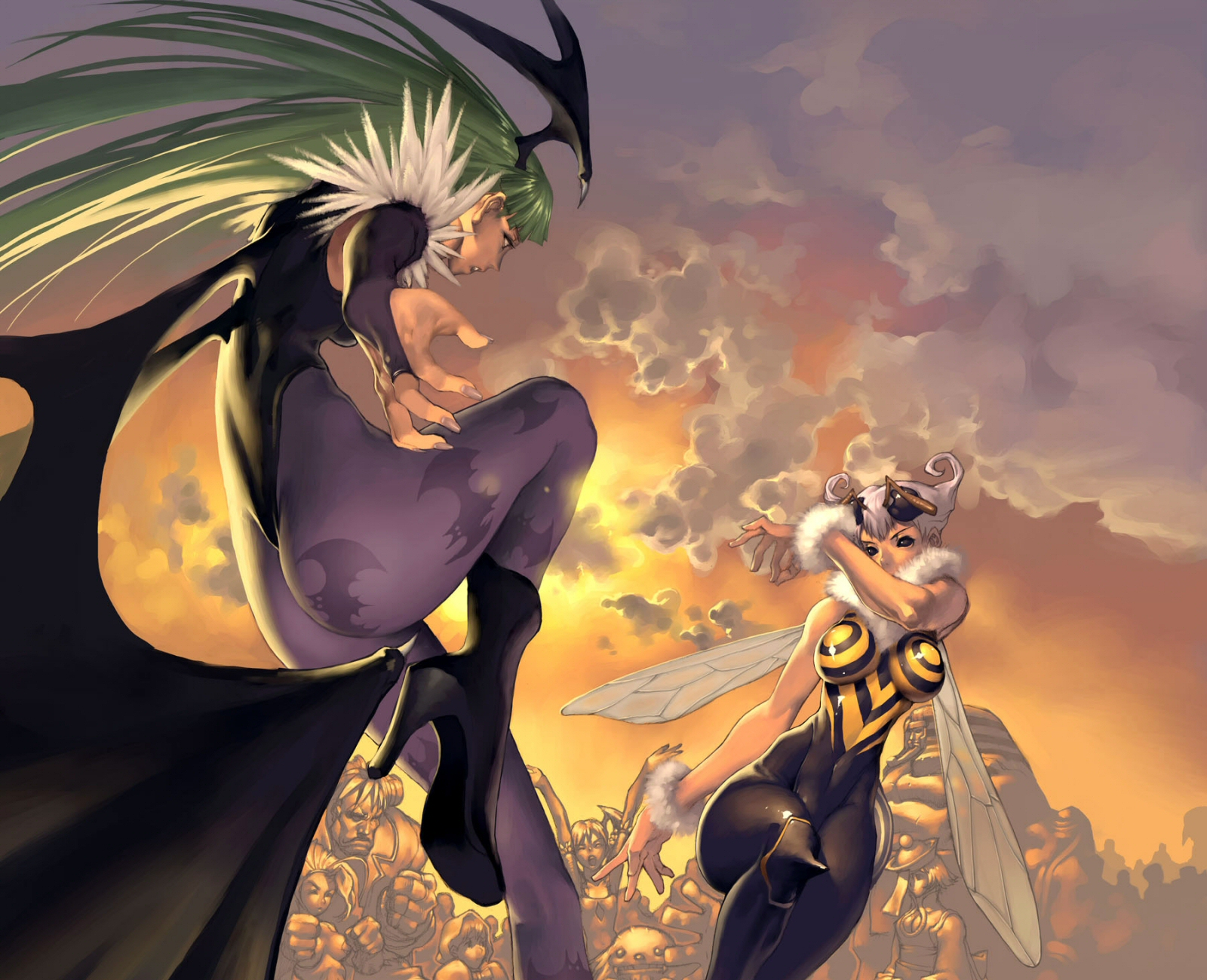 capcom darkstalkers morrigan_aensland q-bee wings