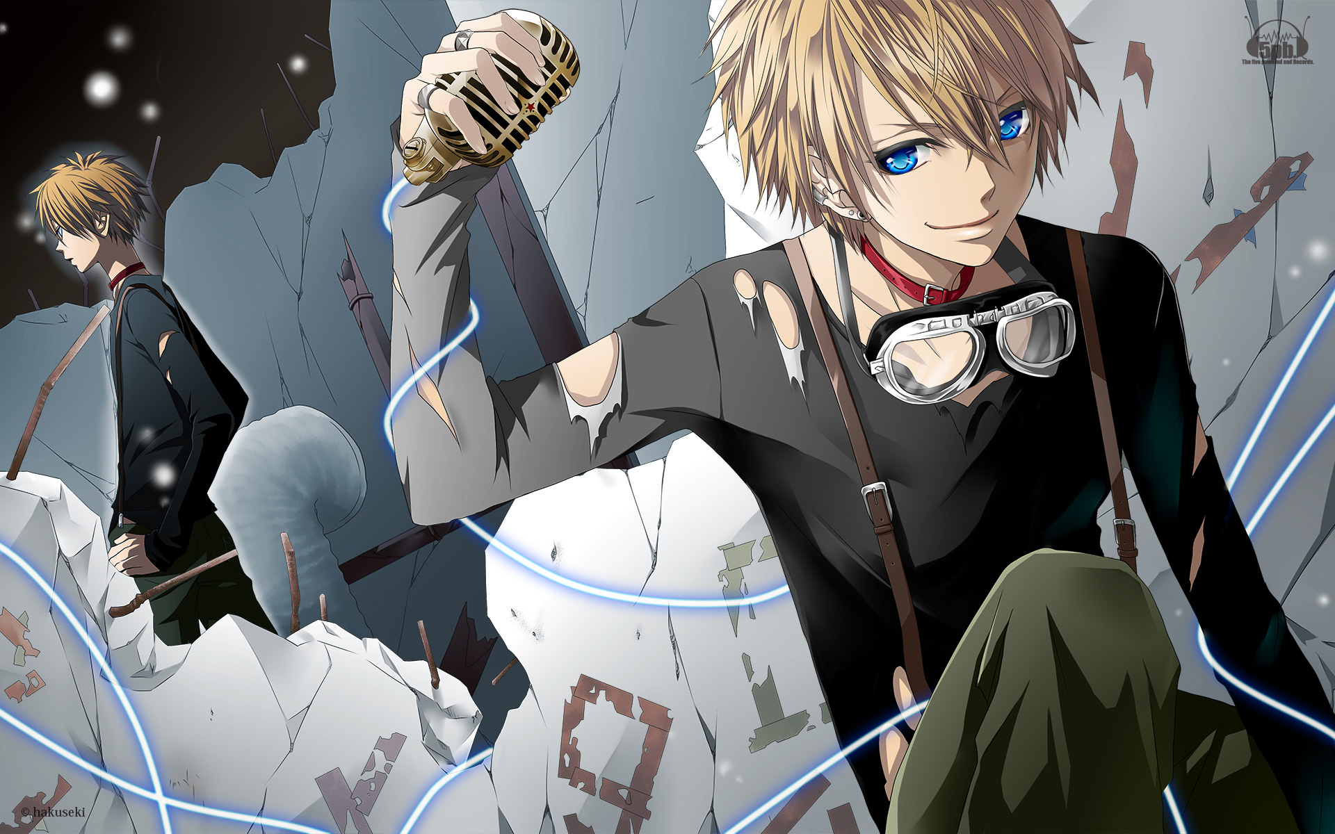 all_male blonde_hair blue_eyes hakuseki kagamine_len male microphone original torn_clothes vocaloid