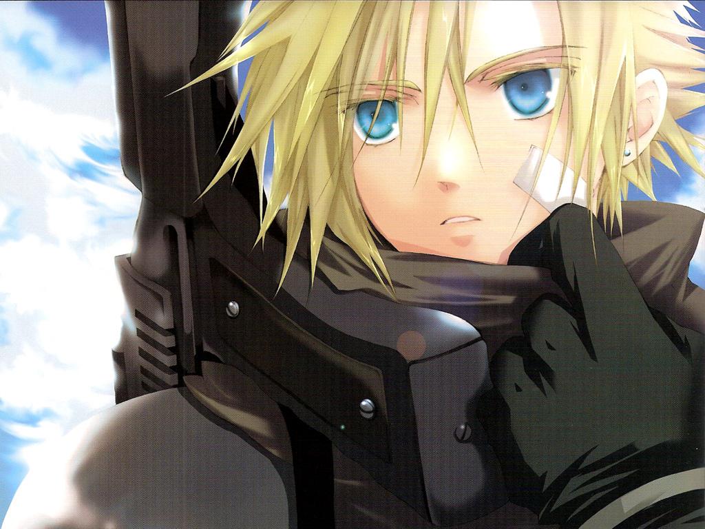 bandage blonde_hair blue_eyes cloud_strife clouds final_fantasy final_fantasy_vii gloves gun short_hair weapon