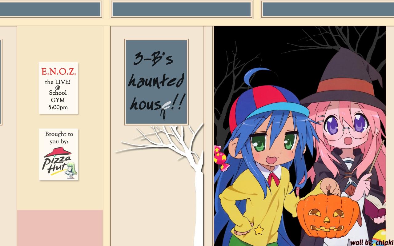 blue_hair book glasses green_eyes halloween hat izumi_konata long_hair lucky_star pink_hair pumpkin purple_eyes tagme_(artist) takara_miyuki witch
