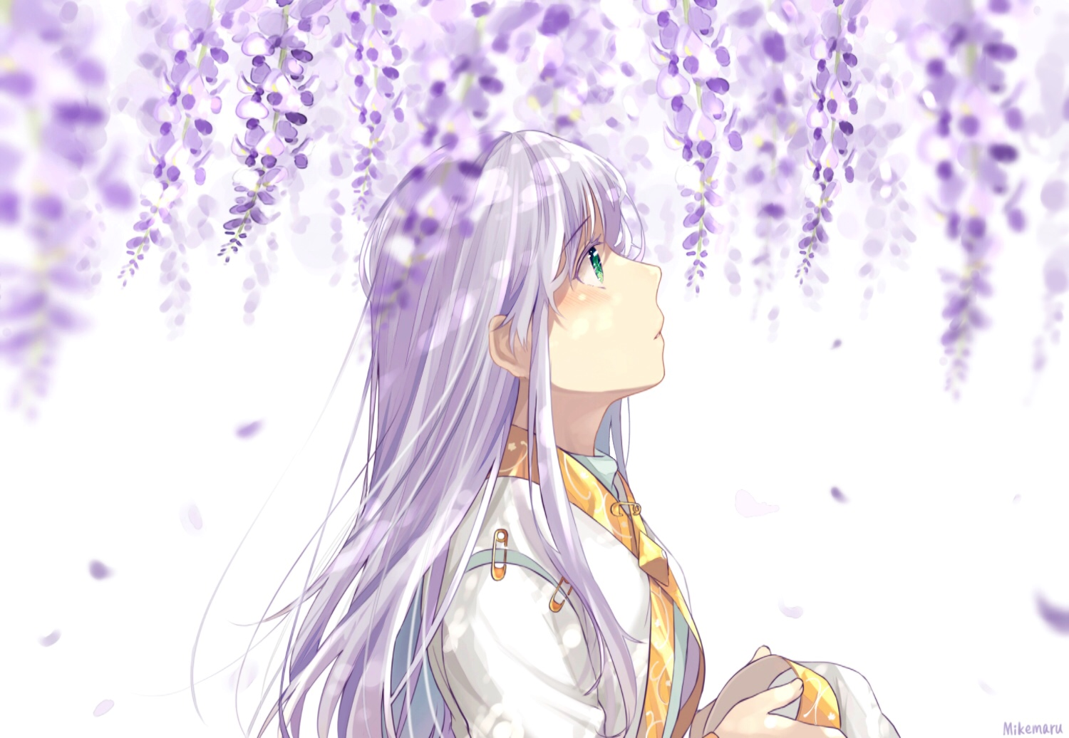 flowers green_eyes hat index long_hair mikemaru_(pixiv17800264) petals signed to_aru_majutsu_no_index white_hair