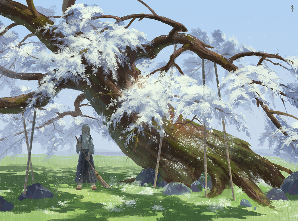all_male japanese_clothes konpaku_youki long_hair male petals scenic seeker touhou tree white_hair