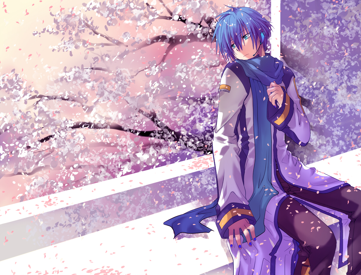 all_male cherry_blossoms flowers kaito male vocaloid