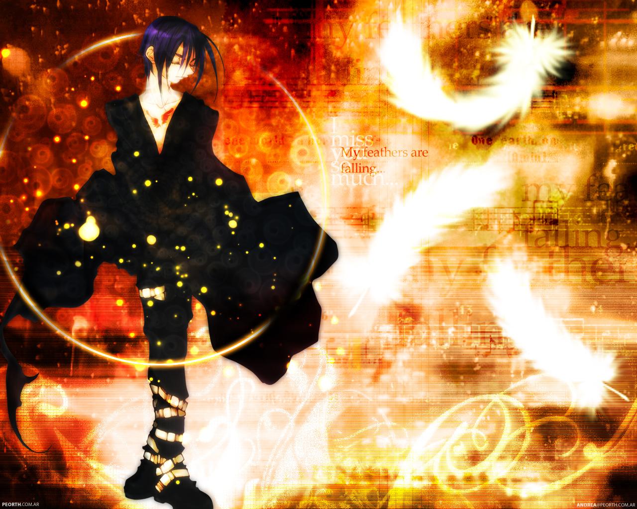 all_male boots dark_mousy dnangel feathers male purple_hair sugisaki_yukiru