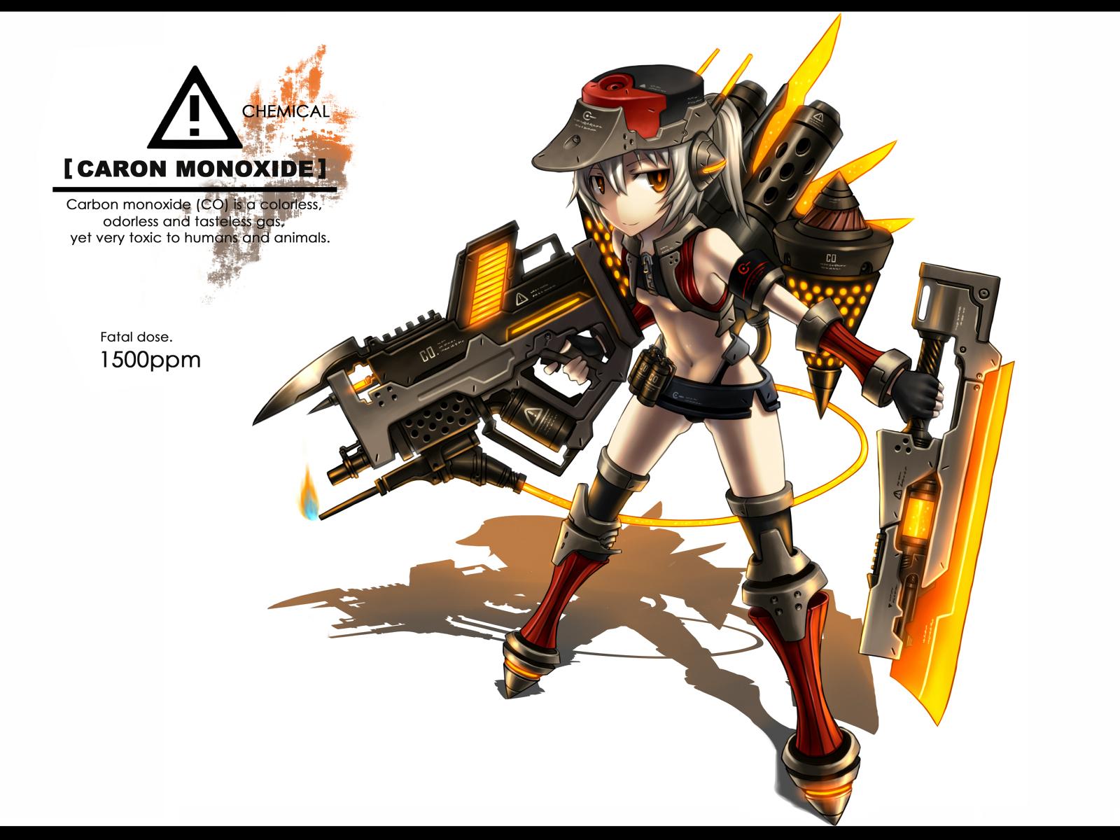 anthropomorphism gia gun hat orange_eyes original ponytail short_hair sword tail weapon white white_hair wings yellow_eyes