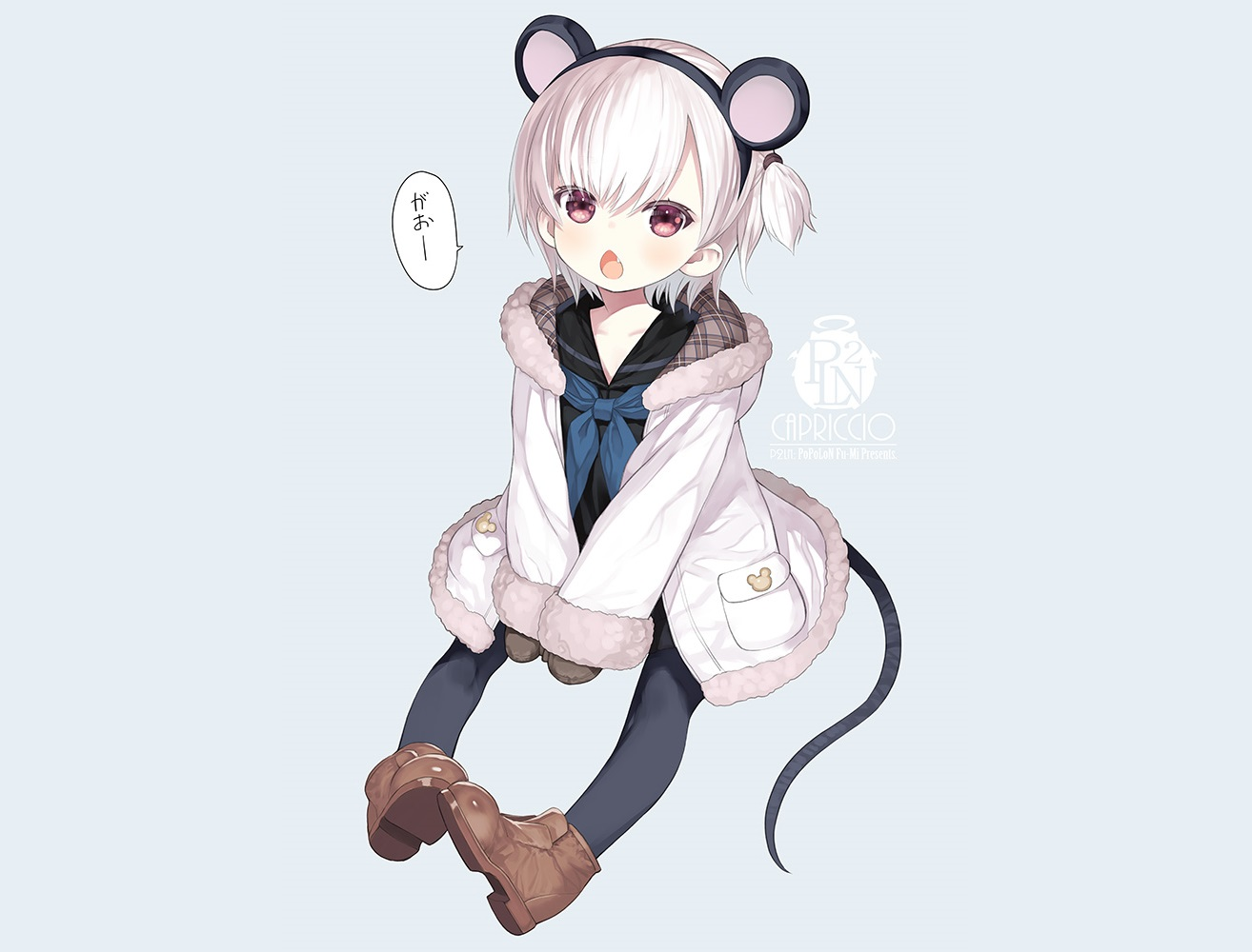 animal_ears blue boots capriccio fang headband hoodie loli mousegirl original pantyhose pink_eyes ponytail school_uniform short_hair tail watermark white_hair