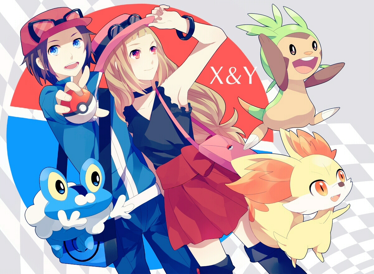 achiki blue_eyes brown_hair chespin fennekin froakie hat pokemon red_eyes