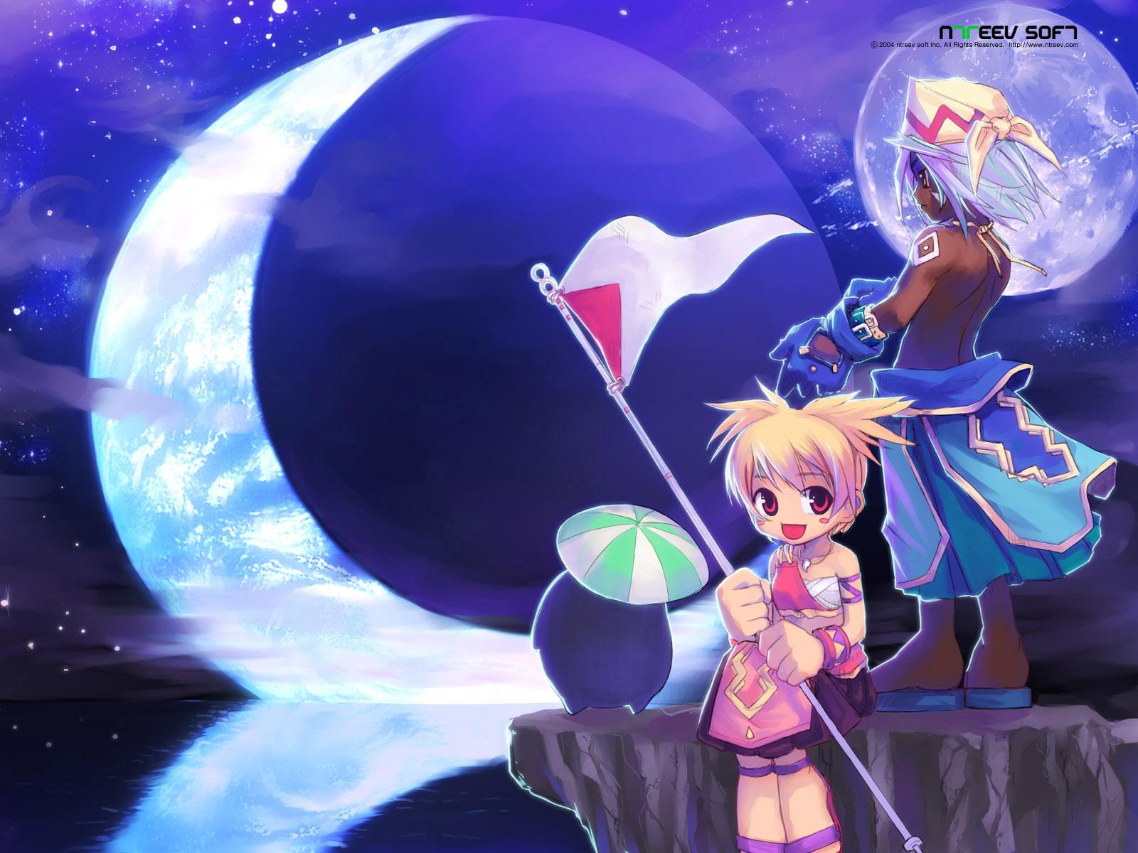 blonde_hair blue_hair brown_eyes dolfini lola moon necklace pangya quma red_eyes short_hair umbrella water
