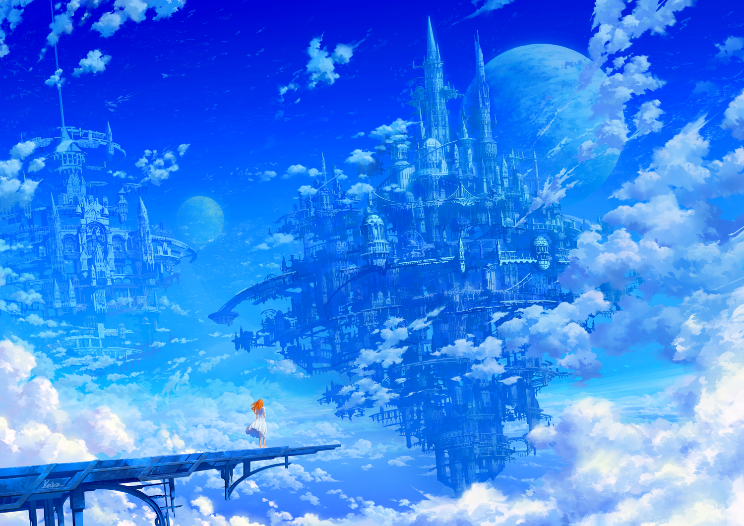 blue building city clouds dress kaitan orange_hair original planet scenic signed sky