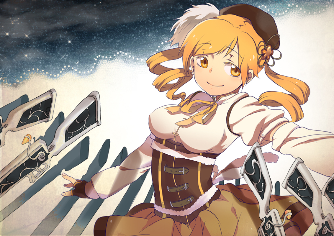 blonde_hair gun hat mahou_shoujo_madoka_magica tomoe_mami weapon yellow_eyes
