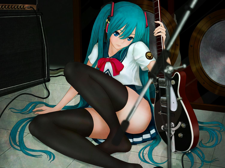 aqua_hair aruk guitar hatsune_miku instrument long_hair nopan school_uniform thighhighs twintails vocaloid