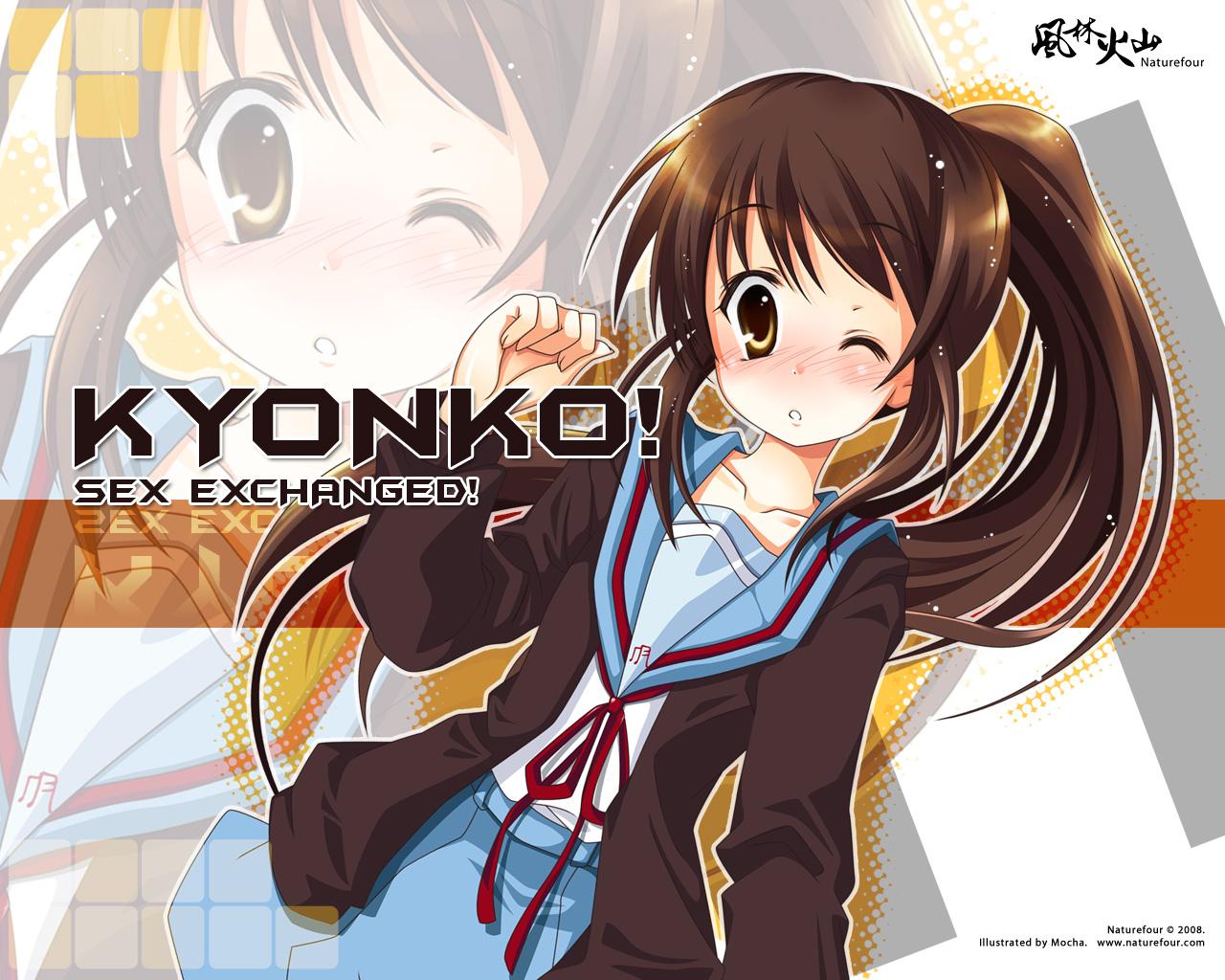 blush brown_eyes brown_hair genderswap kyonko mocha_(naturefour) ponytail school_uniform signed suzumiya_haruhi_no_yuutsu watermark wink zoom_layer