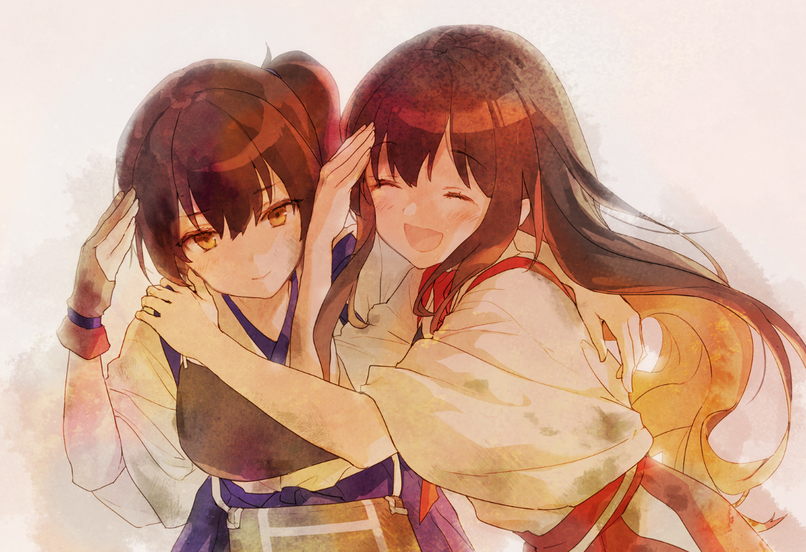 2girls 888myrrh888 akagi_(kancolle) anthropomorphism blush brown_eyes brown_hair gloves hug japanese_clothes kaga_(kancolle) kantai_collection ponytail