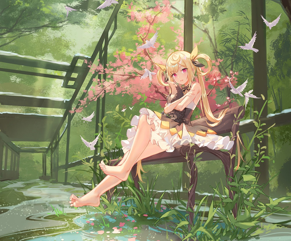 animal atdan barefoot bird blonde_hair bow cropped dress flowers forest grass long_hair original petals pink_eyes tree twintails water