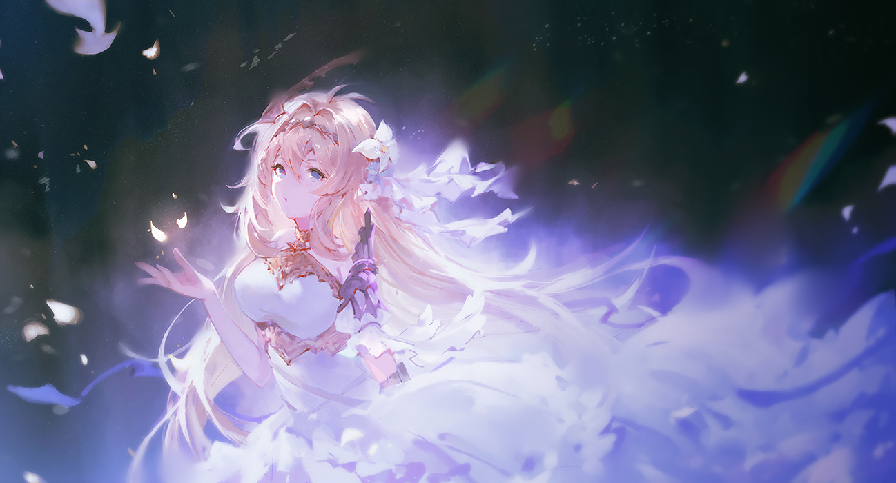 aqua_eyes blonde_hair dress flowers granblue_fantasy jeanne_d'arc_(granblue_fantasy) long_hair petals vienri