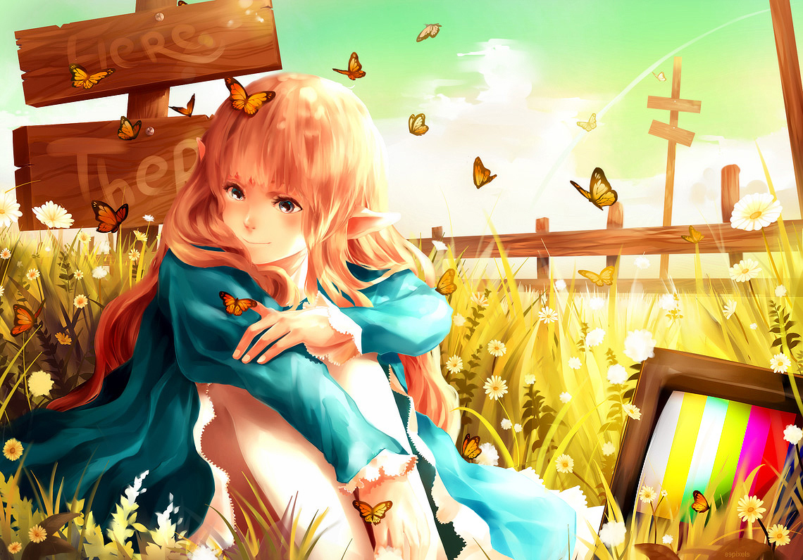 89pixels blonde_hair blue_eyes butterfly clouds dress elf flowers long_hair original sky