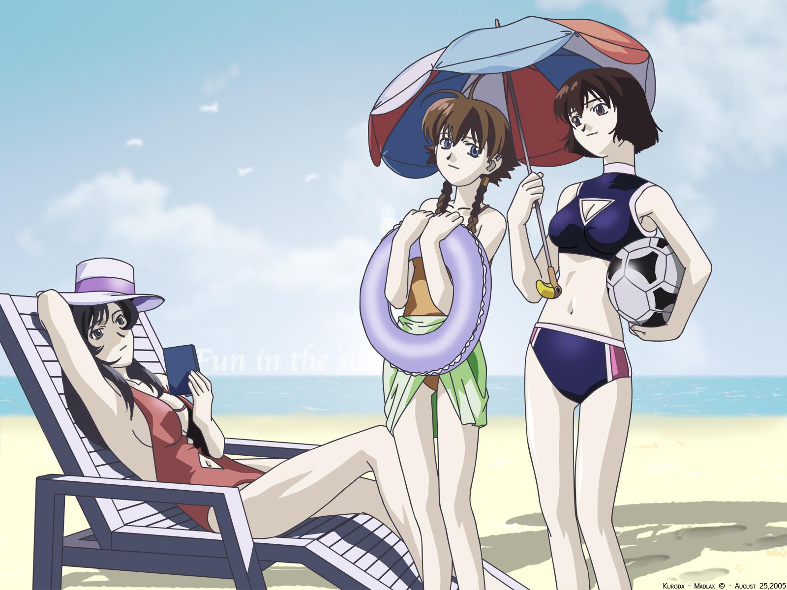 ball beach hat madlax madlax_(character) margaret_burton swim_ring swimsuit umbrella