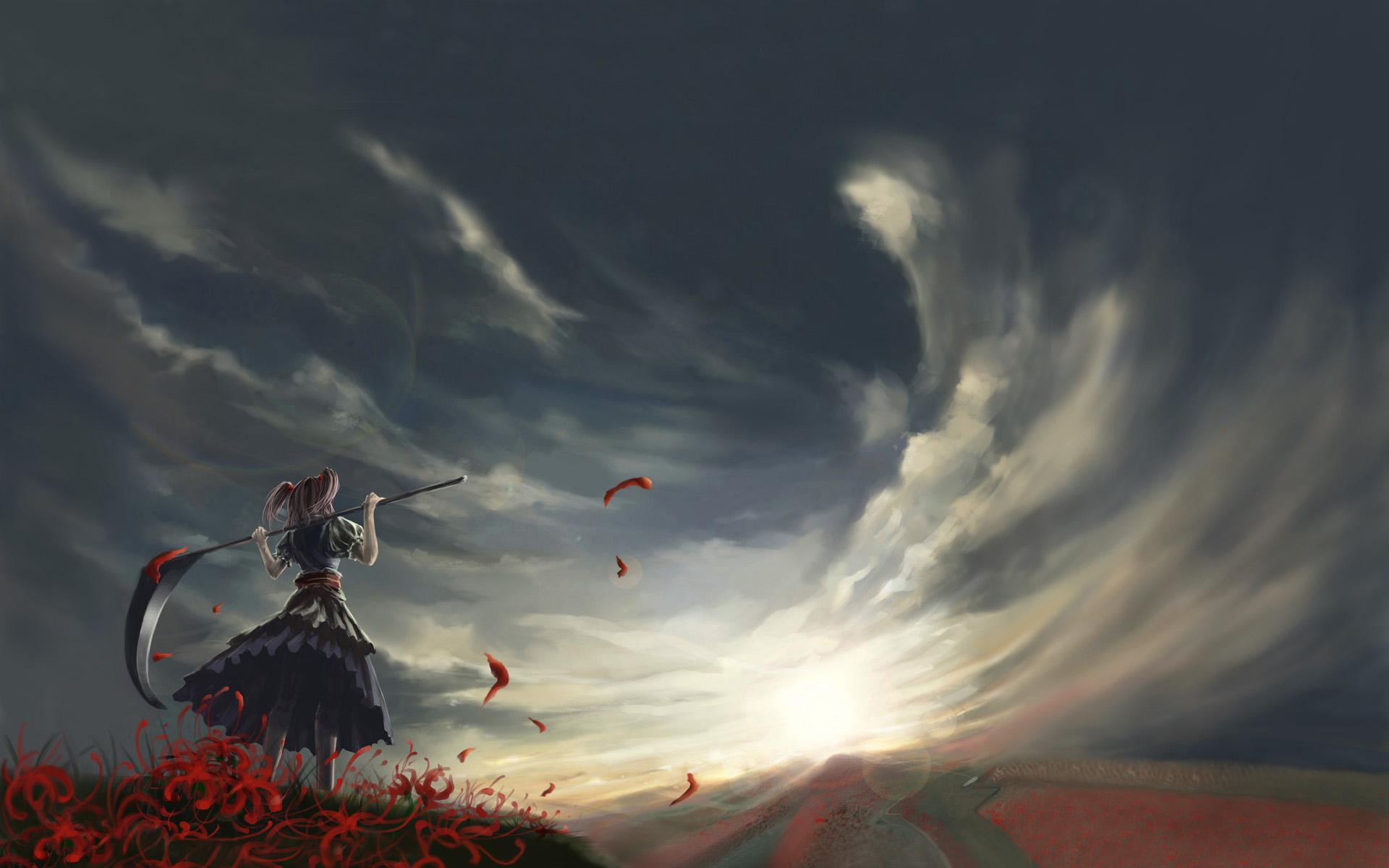 kong_xian onozuka_komachi photoshop scythe sky touhou weapon