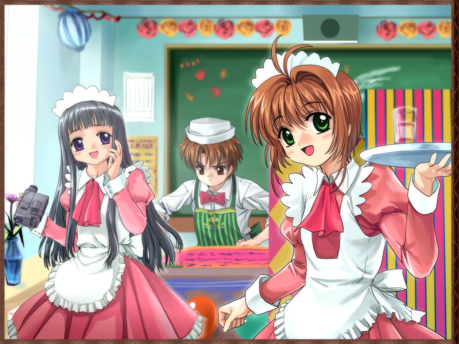 card_captor_sakura daidouji_tomoyo kinomoto_sakura li_syaoran moonknives waitress