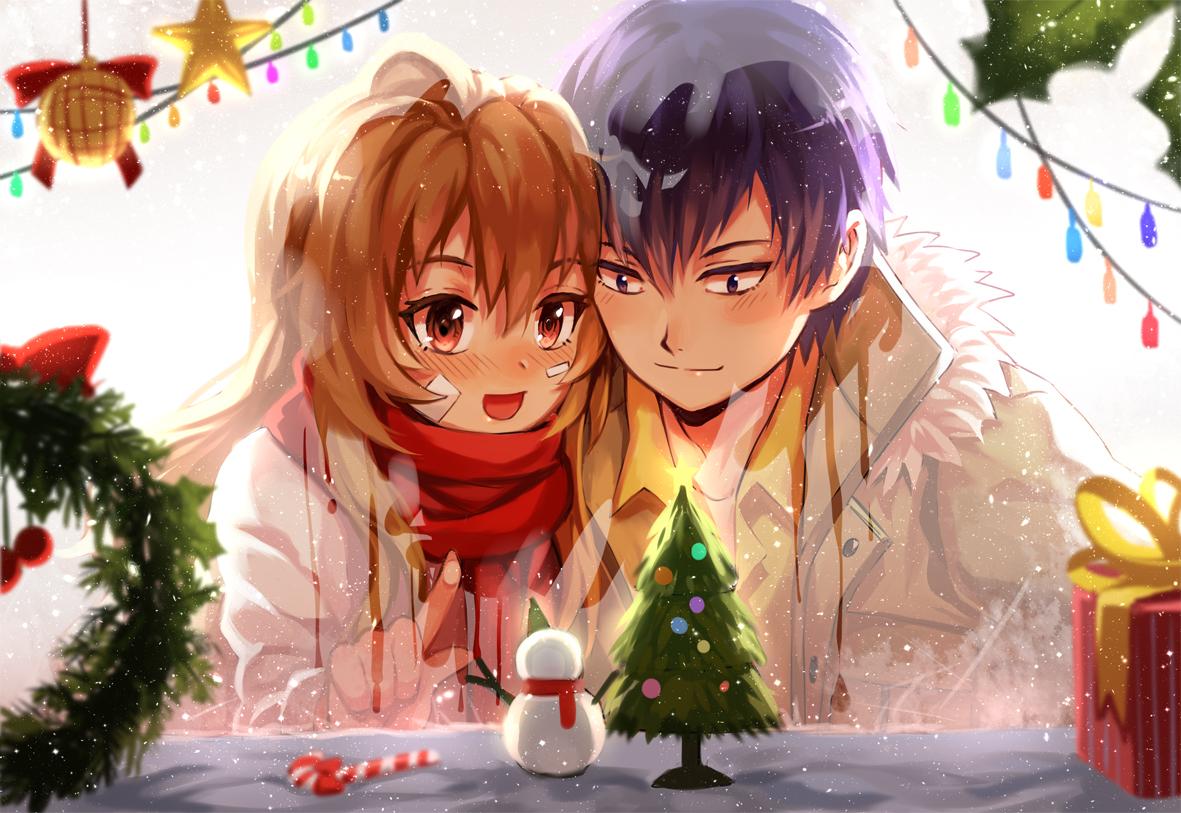 aisaka_taiga bandaid black_hair blush brown_eyes brown_hair christmas long_hair majiang male orange_eyes scarf short_hair takasu_ryuuji toradora winter