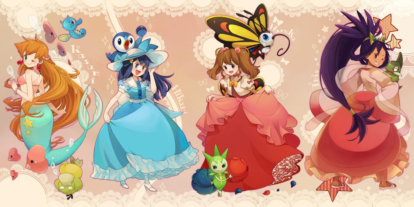 axew beautifly dress haruka_(pokemon) hat hikari_(pokemon) horsea iris_(pokemon) kasumi_(pokemon) luvdisc mermaid piplup pokemon psyduck roselia sasairebun