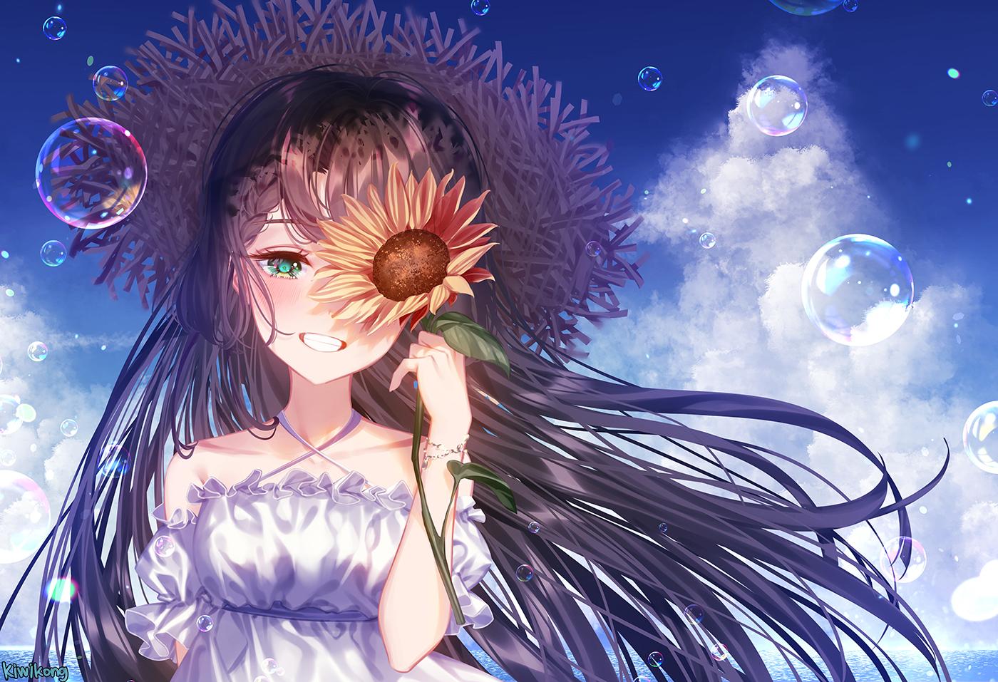 black_hair bubbles clouds dress flowers green_eyes hat kiwikong long_hair original signed summer summer_dress sunflower