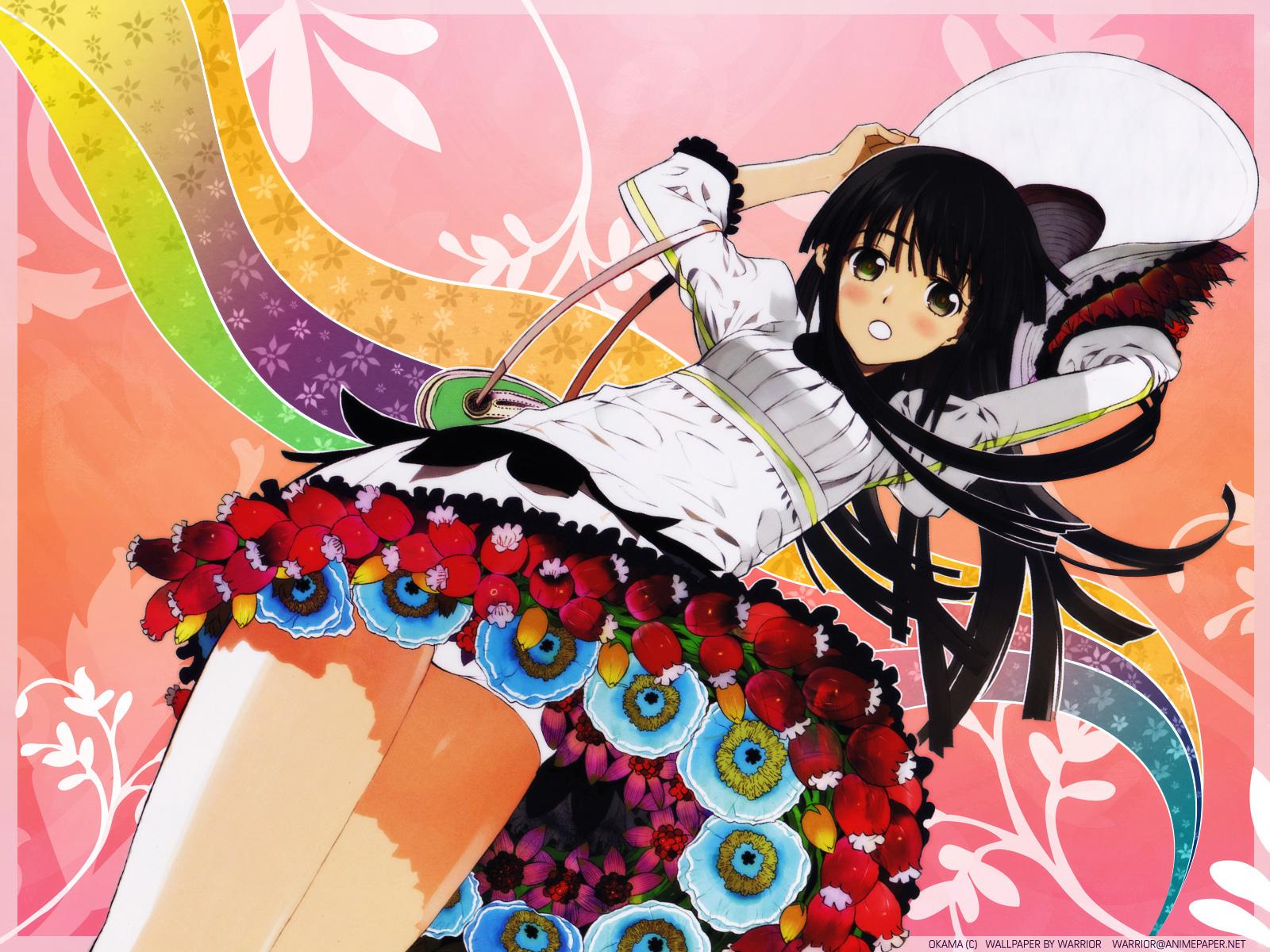 black_hair blush flowers green_eyes hat okama
