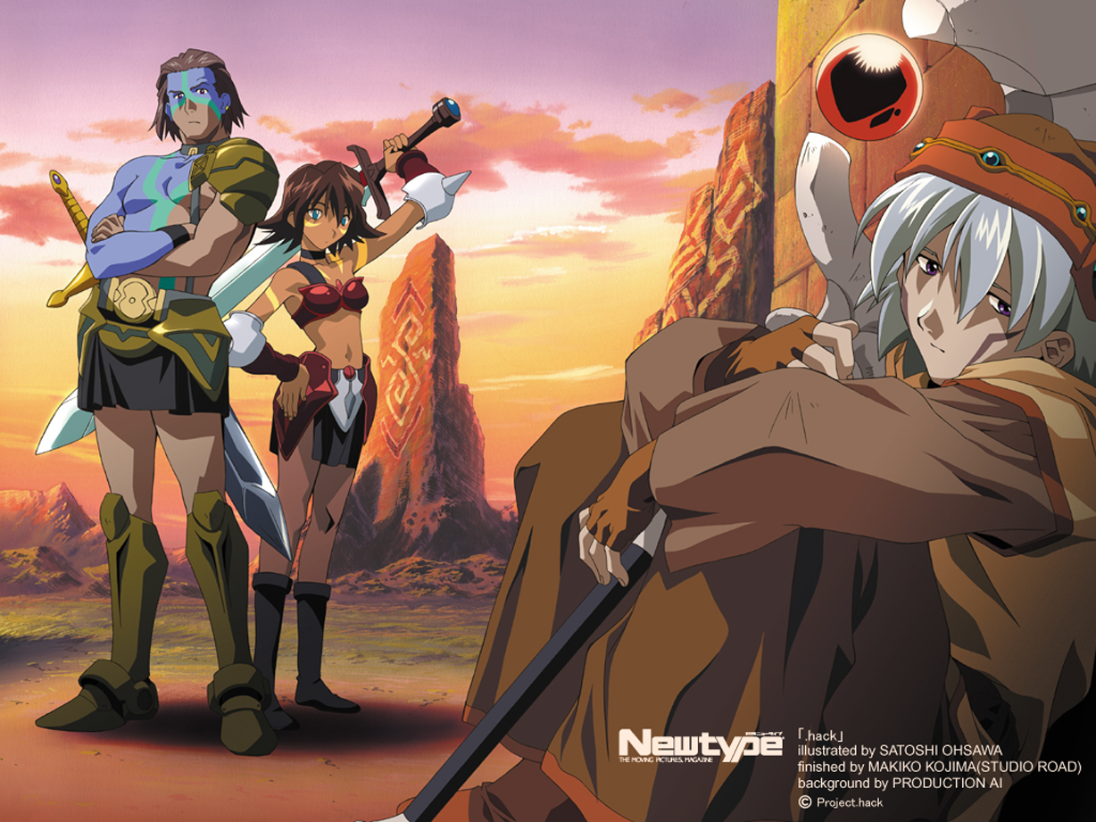 armor bear_(.hack//) blue_eyes boots brown_eyes brown_hair clouds collar gloves gray_hair group .hack// .hack//sign male mimiru short_hair skirt sky sword tattoo tsukasa weapon