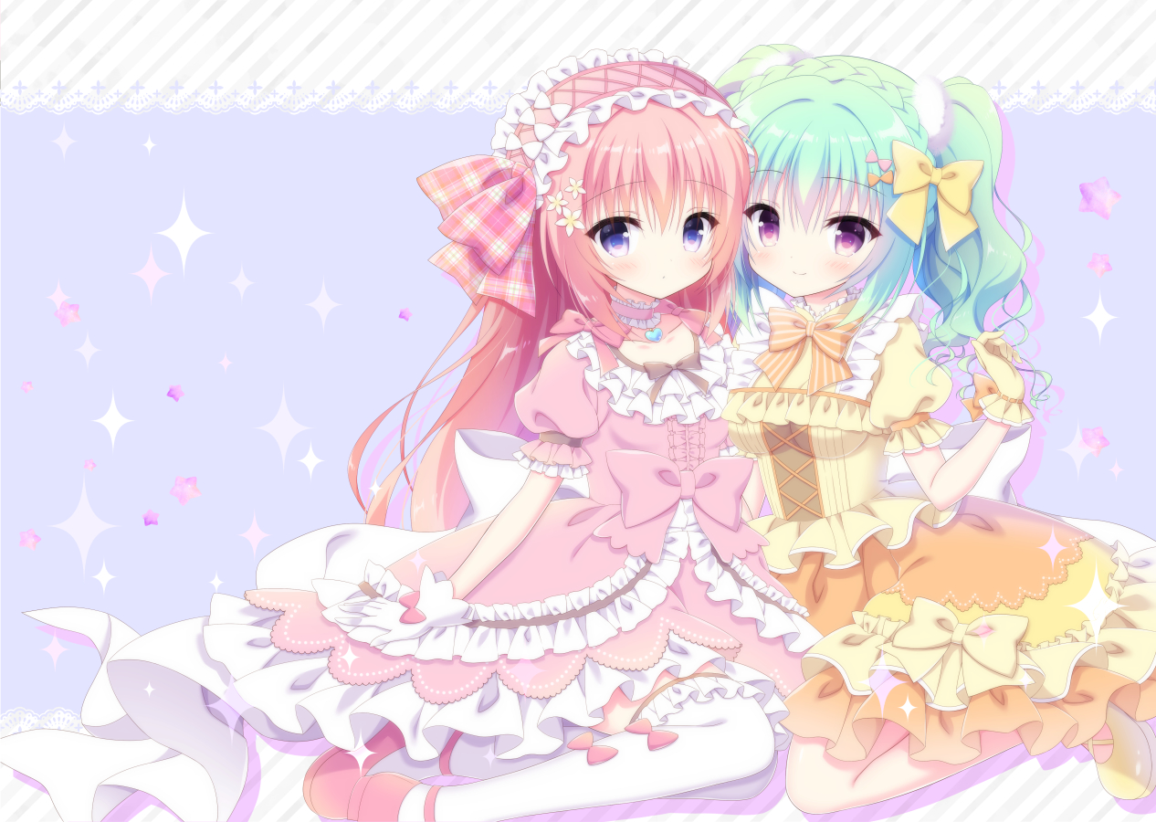 2girls aliasing aqua_hair bow dress gloves headdress kamishiro_piyo lolita_fashion long_hair original pink_hair thighhighs twintails