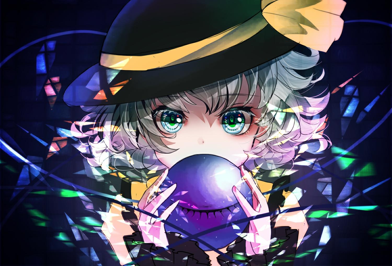 close green_eyes green_hair hat komeiji_koishi sanamisa short_hair sketch touhou
