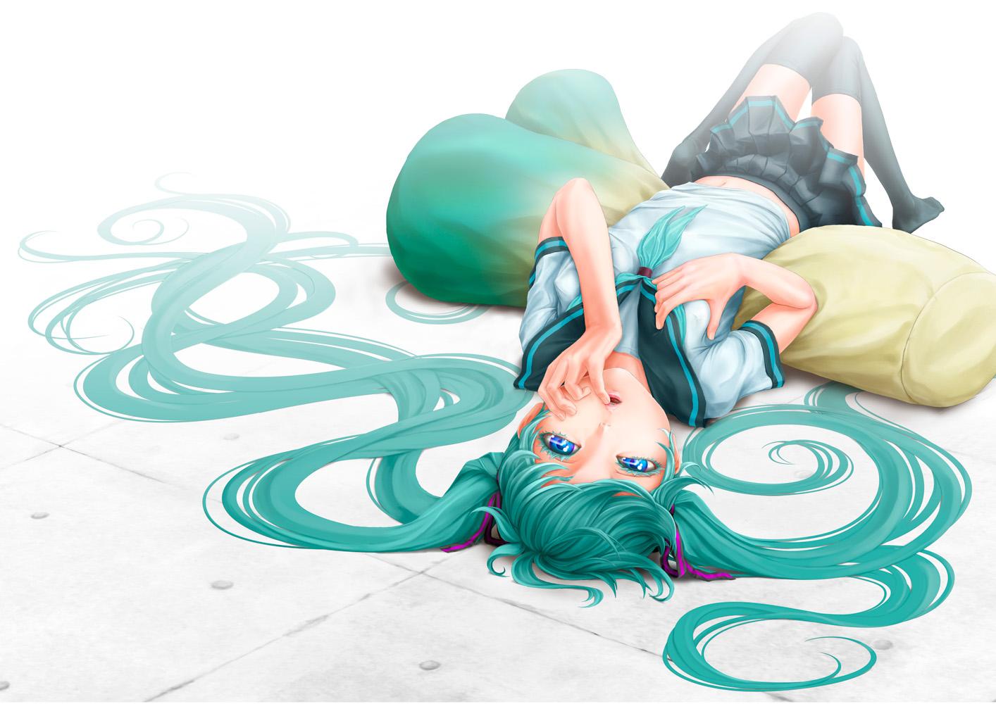 aqua_hair blue_eyes hatsune_miku long_hair pi_(pppppchang) school_uniform thighhighs twintails vocaloid white