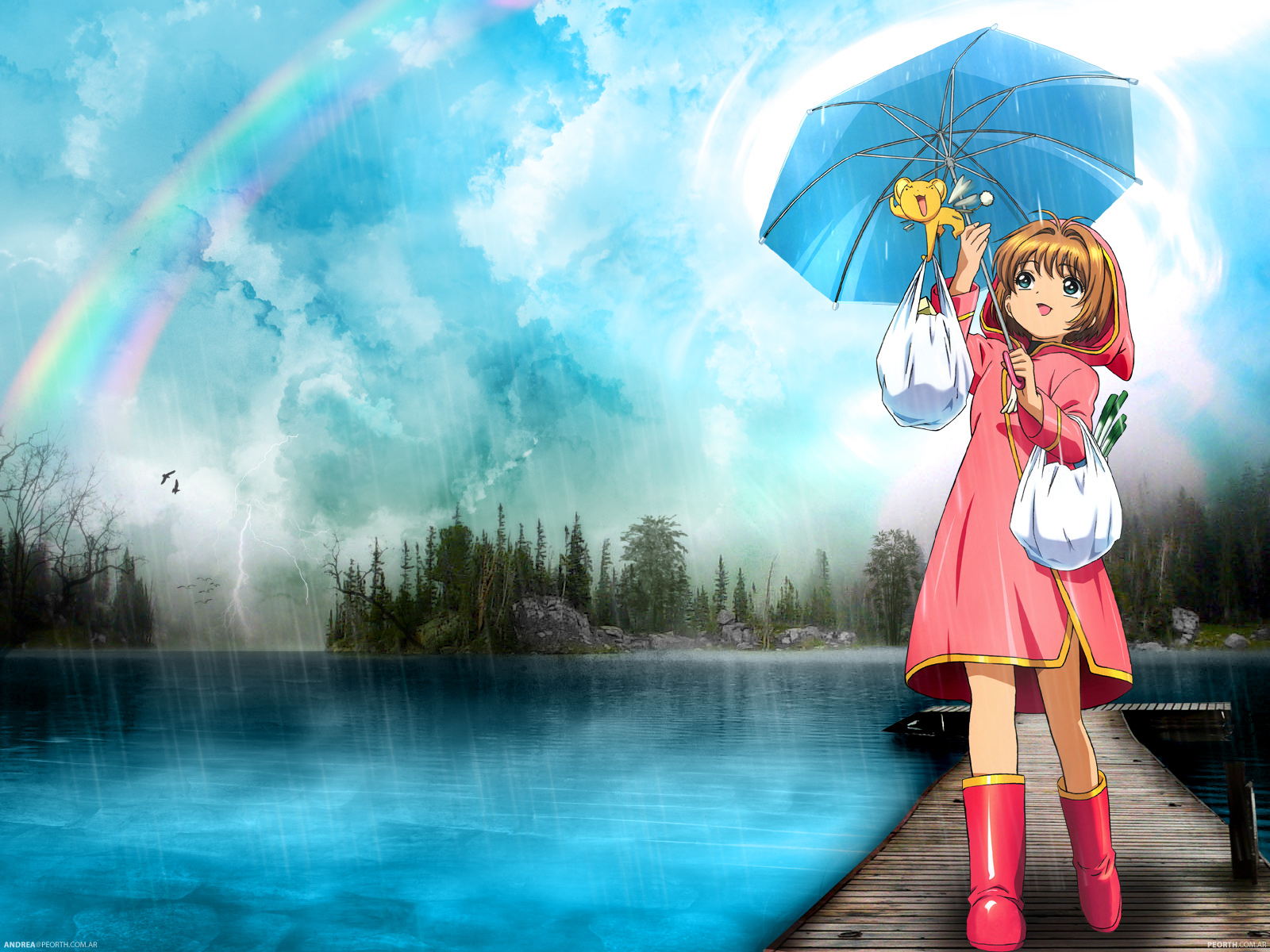 card_captor_sakura kero kinomoto_sakura rain umbrella water